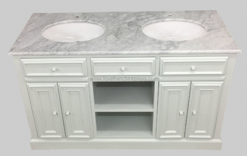 Bespoke Double Sink Vanity Unit with Open Shelf